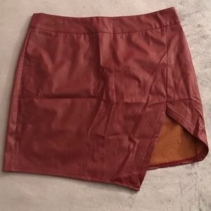 WORN ONCE: Faux Red Leather Skirt